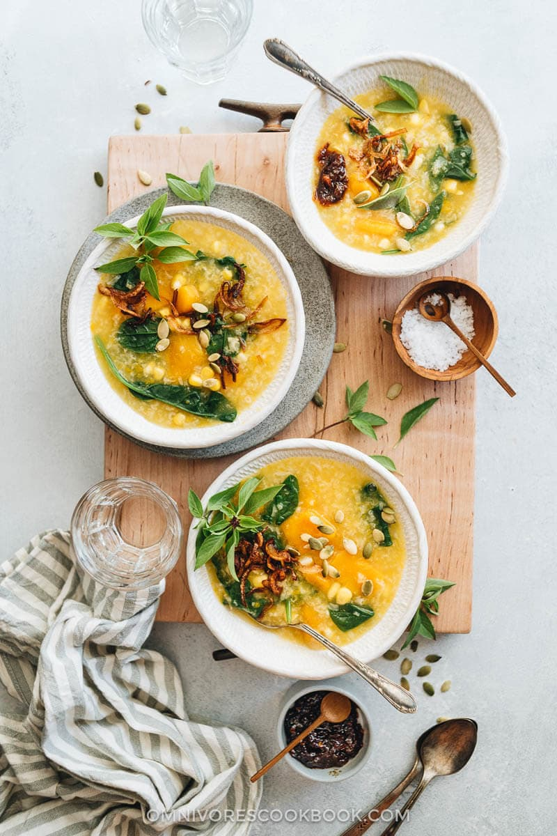 This Indonesian pumpkin porridge is fragrant, hearty, and loaded with nutrition. It's the perfect side dish to warm your body and heart as the weather gets cooler. {Gluten-Free, Vegetarian}