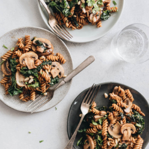 Mushroom kale pasta with garlic sauce - A quick and easy dish that gives you the satisfaction of fried noodles using five ingredients that you can get at any grocery store. {Vegan, Gluten Free adaptable}