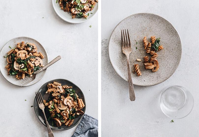 Mushroom kale pasta with garlic sauce
