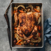 One-Pan Roast Chicken And Vegetables - The chicken is roasted until perfectly charred and juicy inside, while the vegetables are tender and flavorful. It is a great weekend one-pan dinner that takes little effort to prepare. This dish is Gluten Free and low carb.
