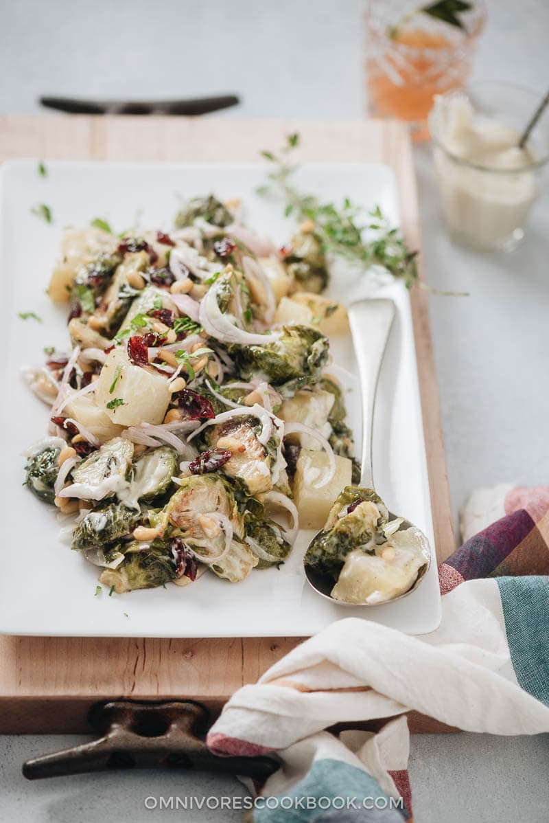 Creamy Potato and Brussels Sprouts Salad - A comforting and healthy side dish for the holiday season, and is satisfying enough to serve as a main dish for a weekday dinner. {Vegan, Gluten-Free}