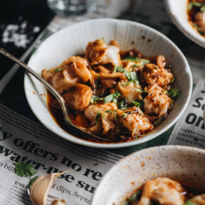 Sichuan Spicy Wontons in Red Oil (红油抄手) - The real-deal recipe that yields the most scrumptious hot sauce with hearty wontons.