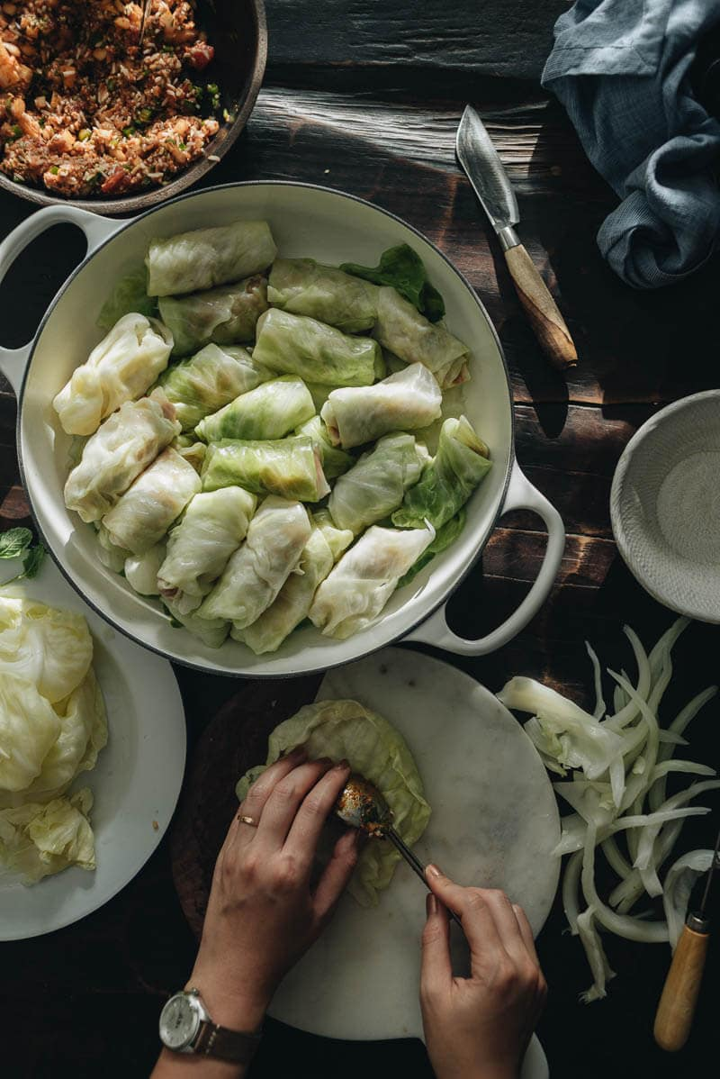 Cabbage Rolls with Tomato and Sumac Sauce (Lahana Sarması) Cooking Process