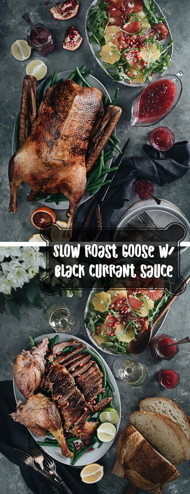 Slow Roast Goose With Black Currant Sauce - A perfect dish for your Thanksgiving or Christmas dinner, which you can make in advance with minimal hands-on time. The recipe yields extra juicy meat with crispy skin.