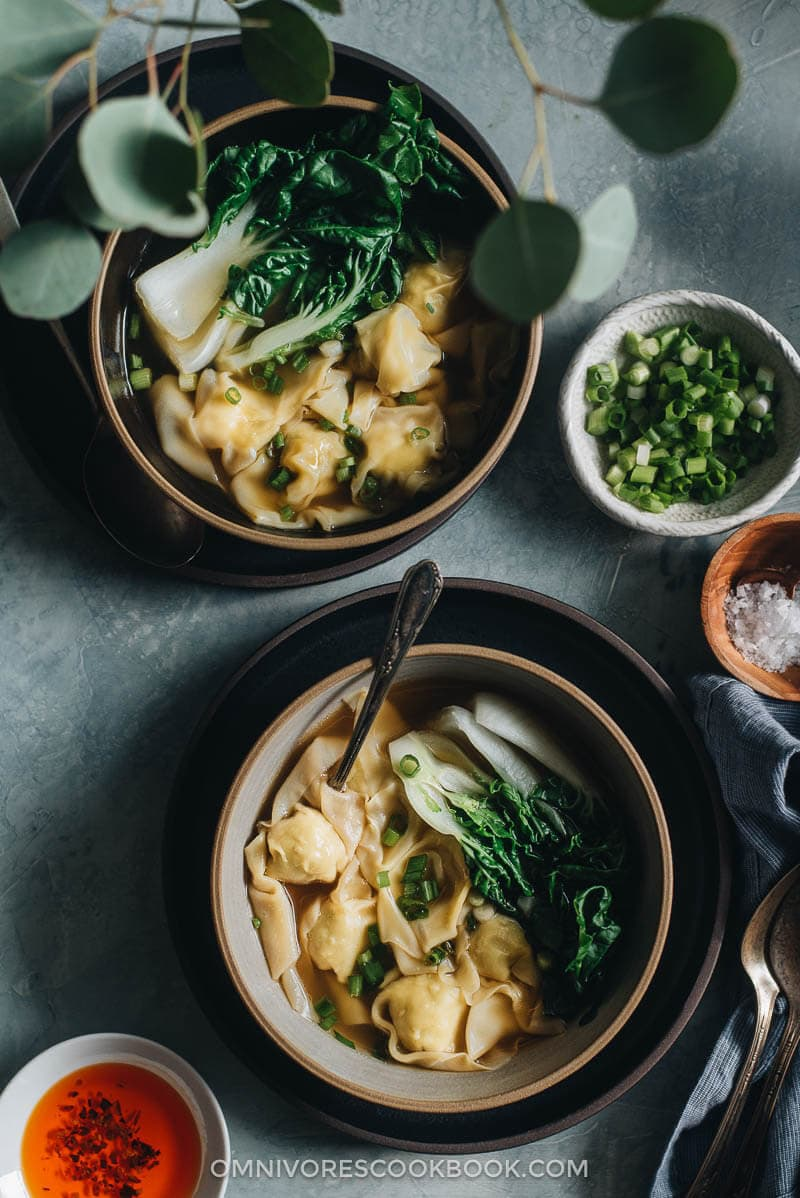 Chicken wonton soup - Learn how to make a silky and flavorful wonton filling with minimal prep, and a five-ingredient soup, so you can create restaurant-style dim sum at home.