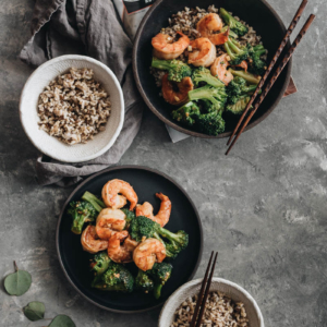 Garlic Shrimp and Broccoli should be added to your weekday dinner menu because it's so easy and fast to cook and is loaded with nutrition. {Gluten-Free adaptable}