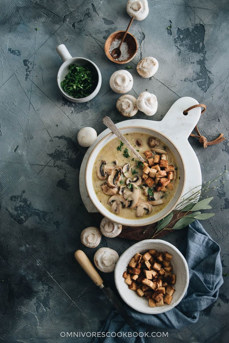 Julia Child's Cream of Mushroom Soup - Making the classic dish with an easier, shortened approach and less cooking time. {Gluten Free}
