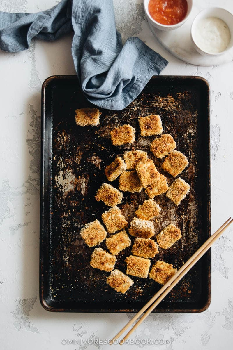 The most amazing vegetarian nuggets are baked to crispy perfection. They're the perfect appetizer for your next game day party or movie night snack.