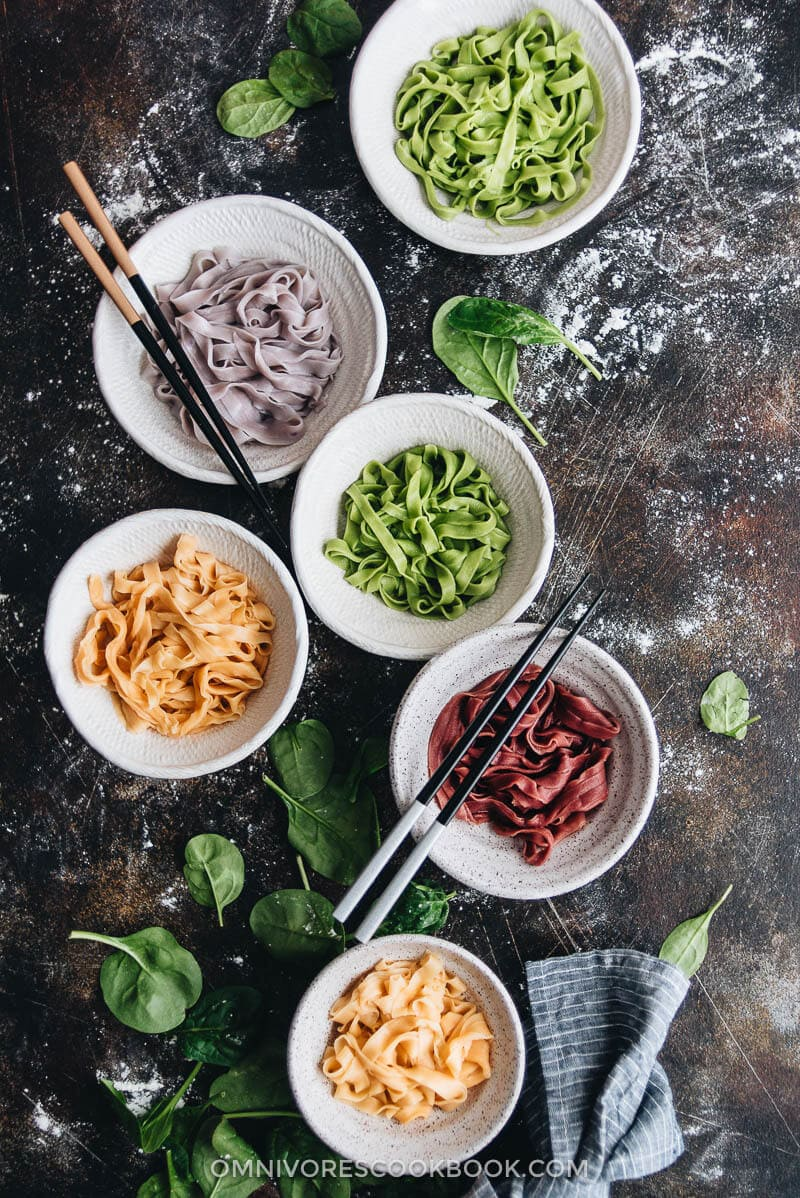 rainbow longevity noodles for chinese new year 彩虹长寿面