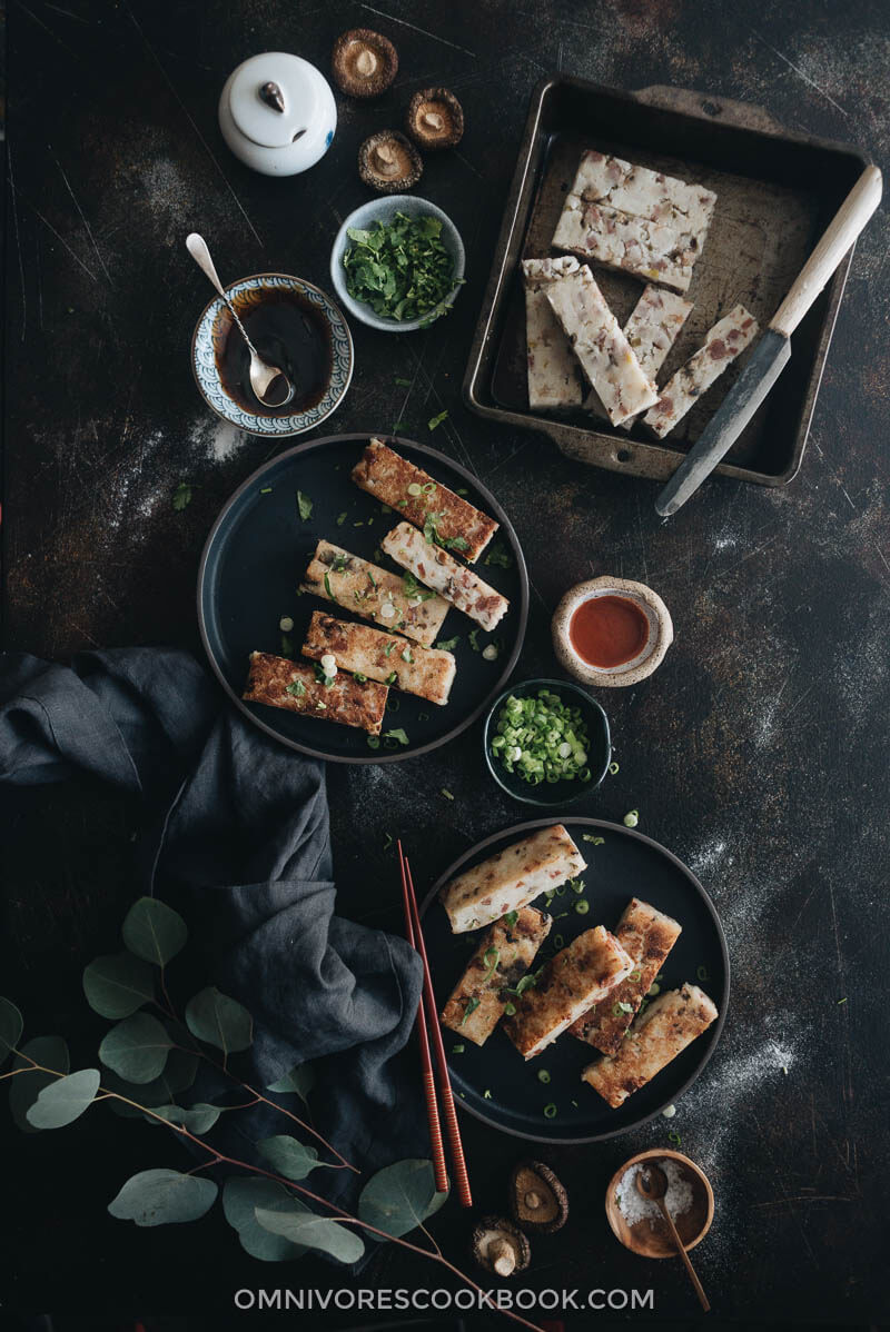 Chinese Turnip Cake (lo bak go, 萝卜糕) - Learn how to make one of the most famous dim sum dishes - turnip cakes - which taste way better than the restaurant version.