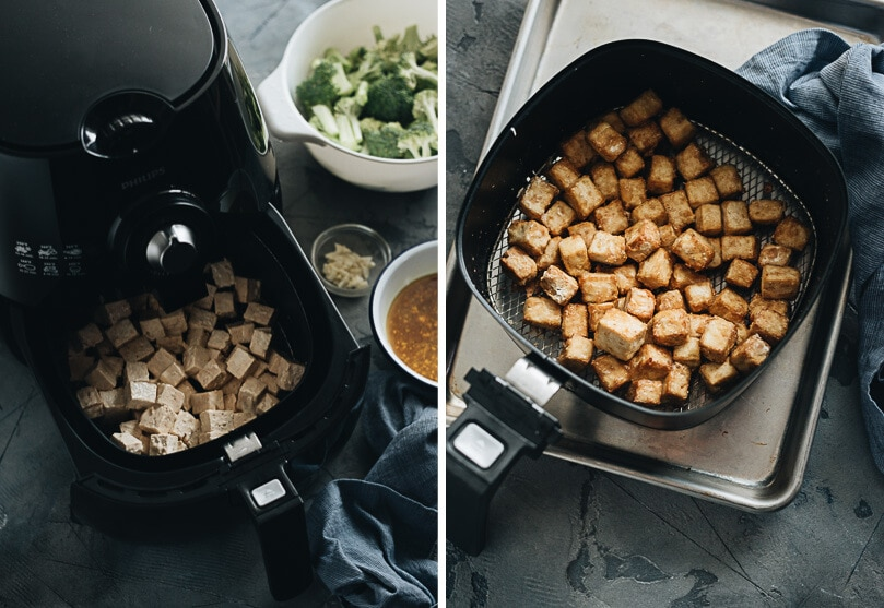Before and after picture of tofu made in the air fryer