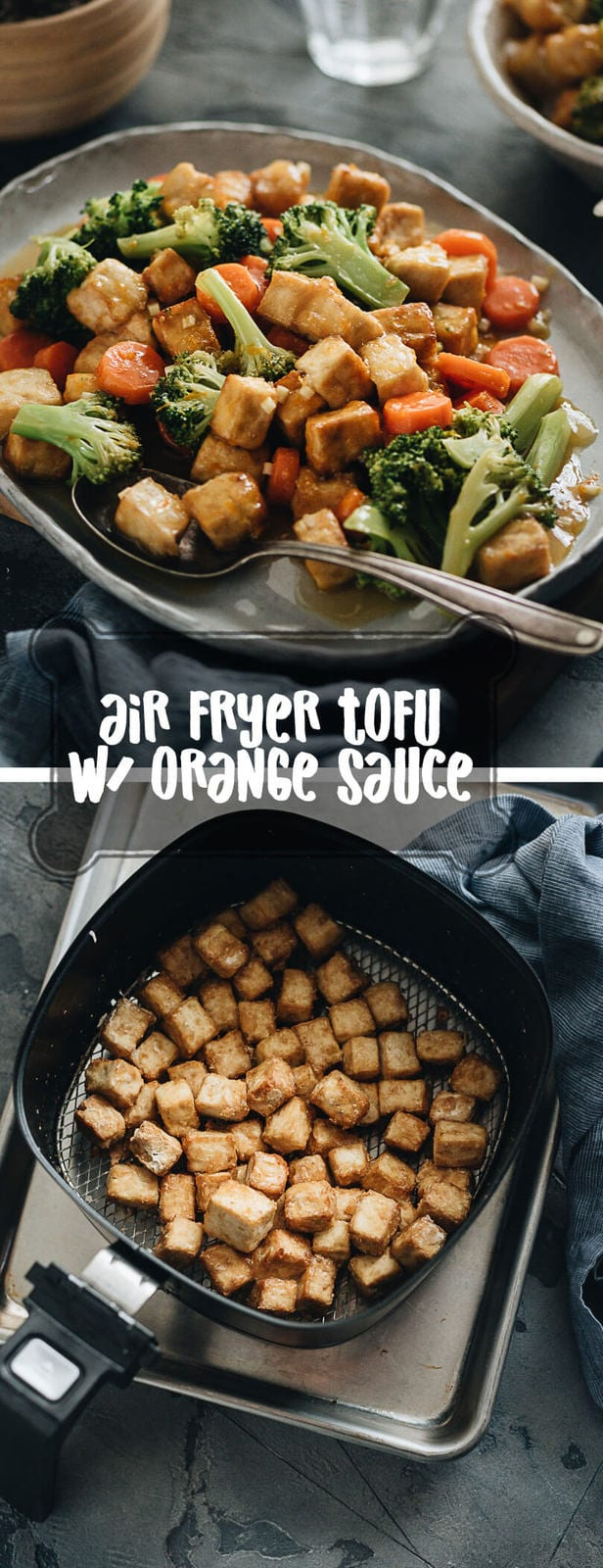 Air Fryer Tofu with broccoli and carrot collage