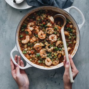 Shrimp Étouffée with Clams and Potatoes - A healthier and lighter version of the classic Southern shrimp etouffee that is faster to prepare. Perfect for a weekday dinner.