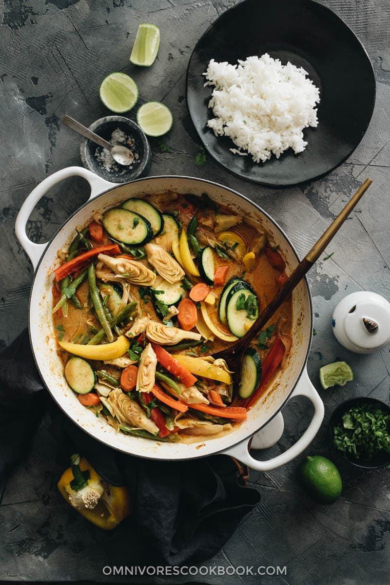 Easy vegetarian thai curry omnivores cookbook vegetarian thai curry in dutch oven with a plate of rice on the side forumfinder Choice Image