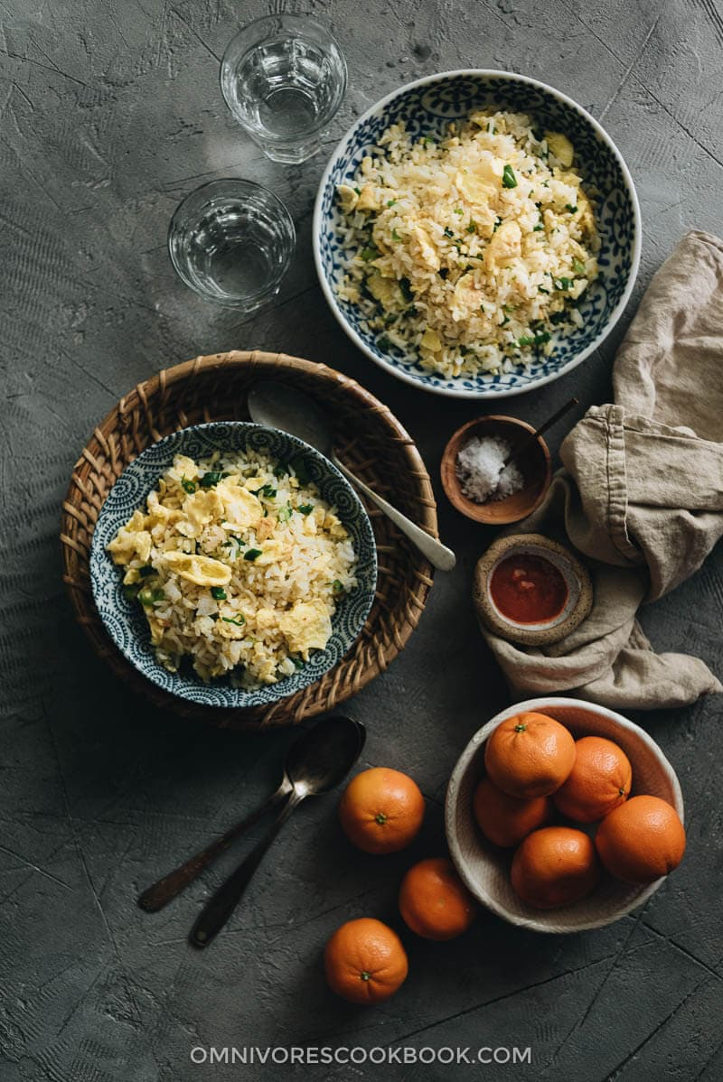 Homemade egg fried rice served on two plates