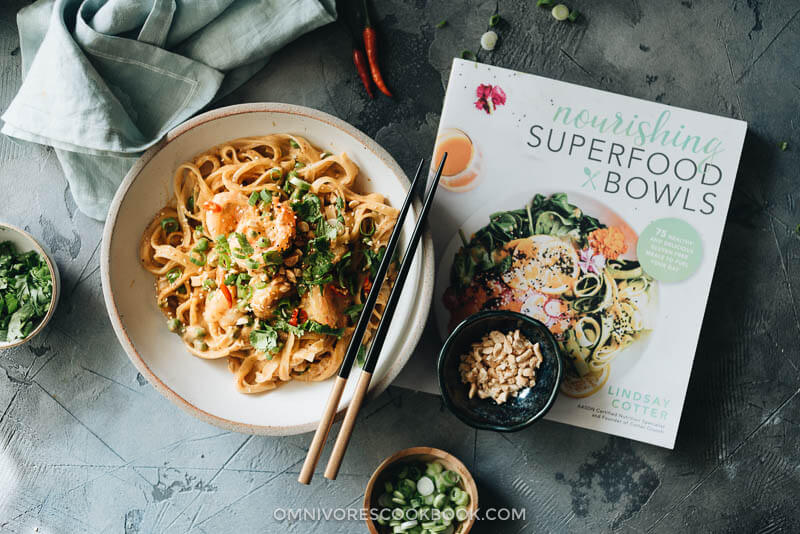 One bowl of shrimp laksa curry with the Cookbook Nourishing Superfood Bowls