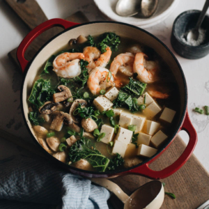 15-Minute Shrimp Soup with Tofu and Kale - A super easy, healthy, and hearty one-pot soup that is low-carb and packed with lean protein. So fast to make and satisfying enough to serve as a main dish. #glutenfree #shrimp #soup #healthy #superfood #recipes