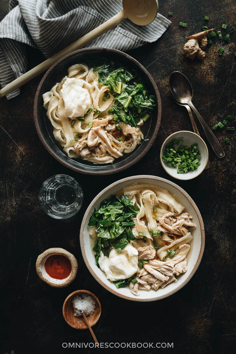 Two bowls of Instant Pot chicken noodle soup