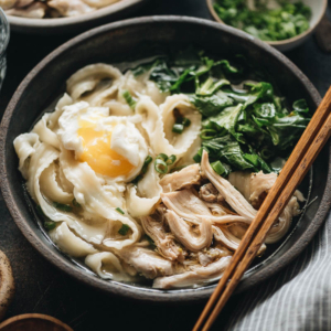 Asian Instant Pot Chicken Noodle Soup (A Pressure Cooker Recipe) - The heartiest and easiest one-pot dinner - you can simply dump in the ingredients and forget about it, and it'll be ready in 30 minutes. #glutenfree #chicken #soup #instantpot #recipes
