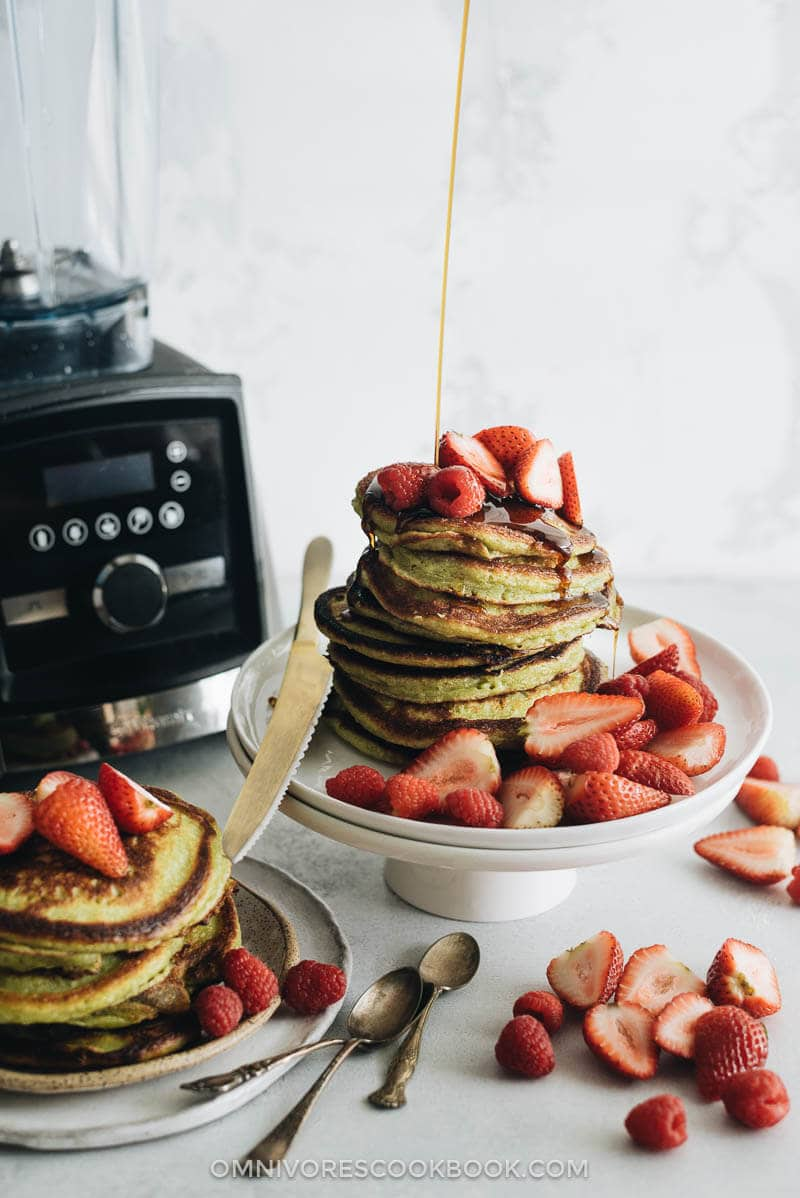 Two stacks of matcha pancakes