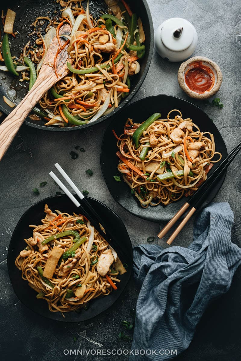 Chicken lo mein served on plates