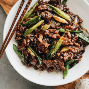 Mongolian Beef served with rice