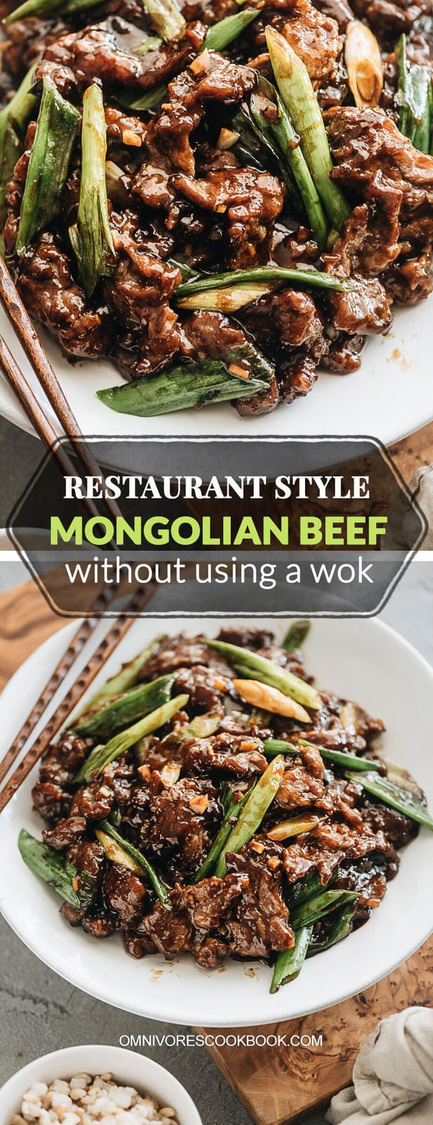 Mongolian Beef - Beautifully caramelized beef with a juicy, tender texture and a gingery, garlicky, sweet sauce make this dish irresistible! You won't believe how easy it is to make this restaurant-style stir fry in your own kitchen without a wok! #recipe #takeout #chinese #asian #glutenfree