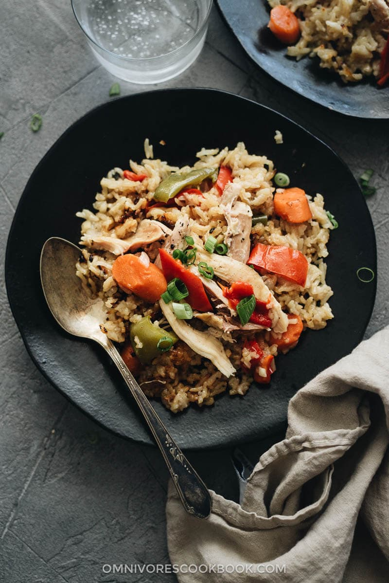 Asian Instant Pot chicken and rice with carrot and pepper