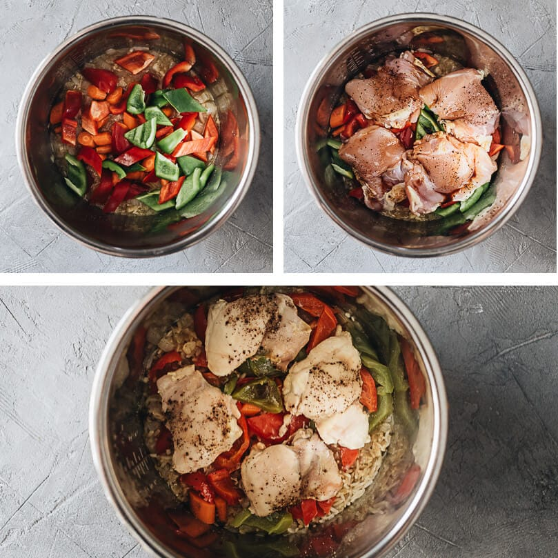 Asian style Instant Pot chicken and rice cooking steps
