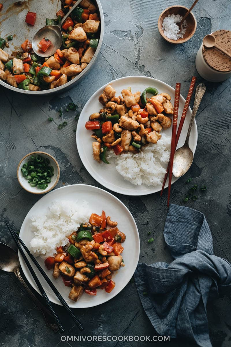 Restaurant style cashew chicken served with rice