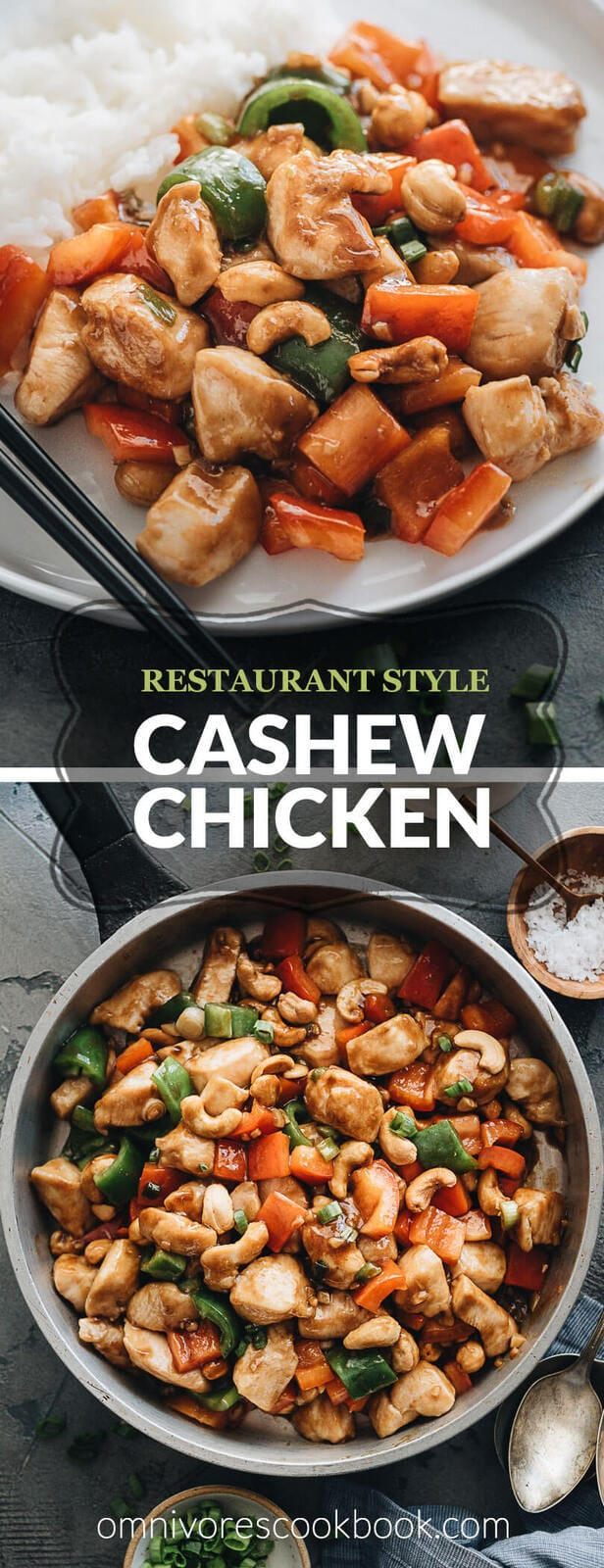 Cashew Chicken (腰果鸡丁) - Easy stir fry recipe that teaches you how to make restaurant-style cashew chicken with super juicy and tender meat, a rich, thick, gingery, garlicky sauce, crispy peppers and cashews. #chinese #healthy #glutenfree #authentic #takeout