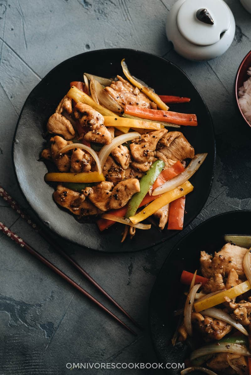 Chinese restaurant style black pepper chicken