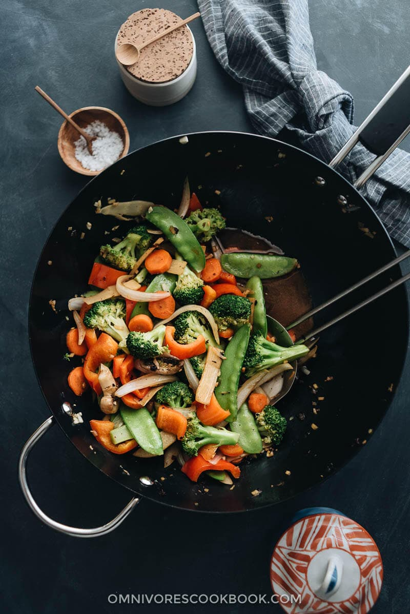 Mixed vegetable stir fry in a wok