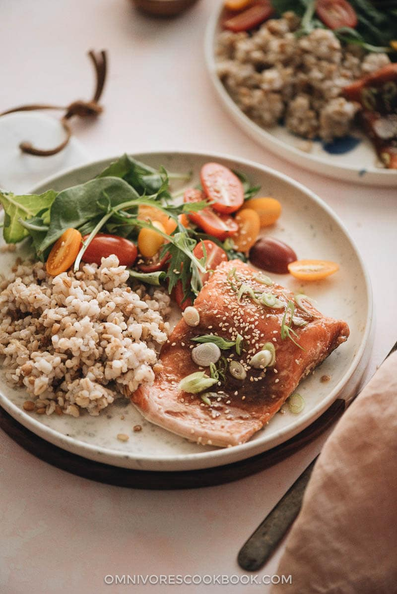 Sous-vide salmon with Asian sauce served with brown rice and salad close up