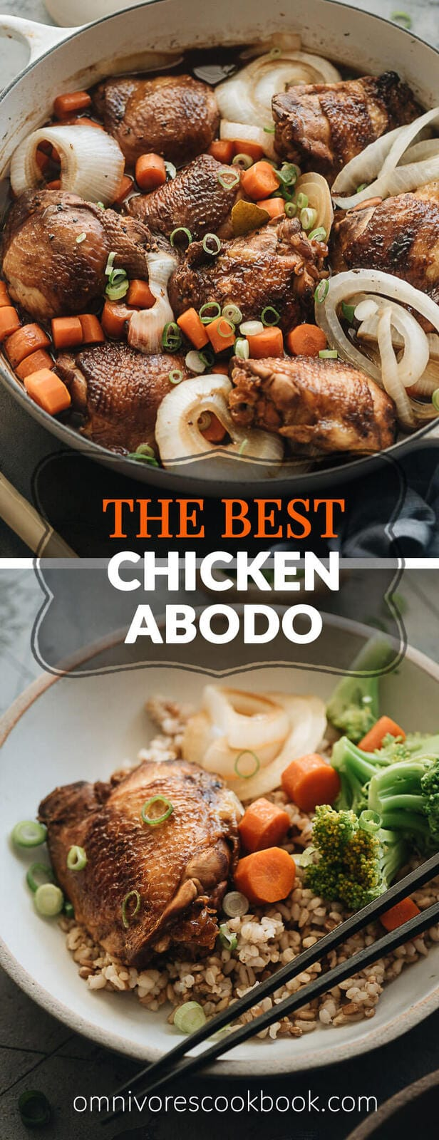 The Best Filipino Chicken Adobo - This savory yet tangy chicken dish only requires a few ingredients and lets the marinade do all the work for a flavorful and easy weekday dinner you can make in your own kitchen. {Gluten-Free} #easy #recipe #stovetop #authentic #thighs #vegetables