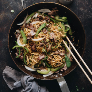 Homemade beef chow mein with peppers and onion