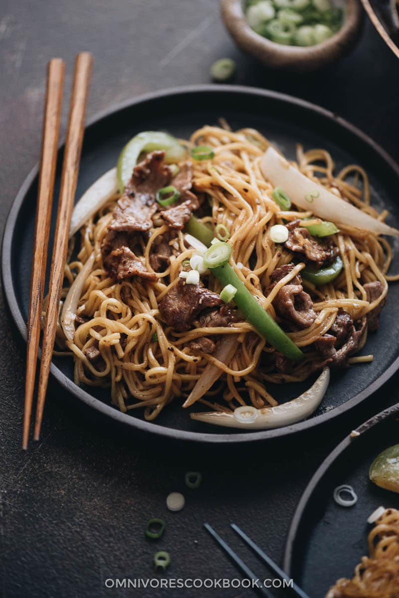 Authentic beef chow mein served in a plate