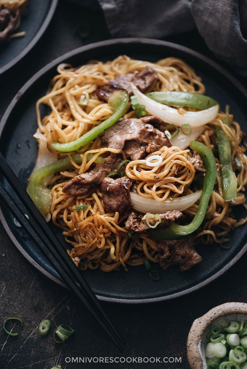 Authentic beef chow mein close up