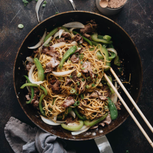 Chinese Beef Chow Mein - The tender beef in this dish practically melts in your mouth. Along with saucy noodles and crispy veggies, it's an easy delicious way to get a filling meal that everyone will love onto the table fast. #sauce #recipe #healthy