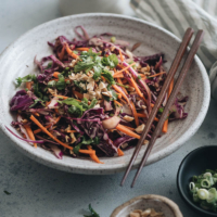 Chinese coleslaw made with purple cabbage and carrots
