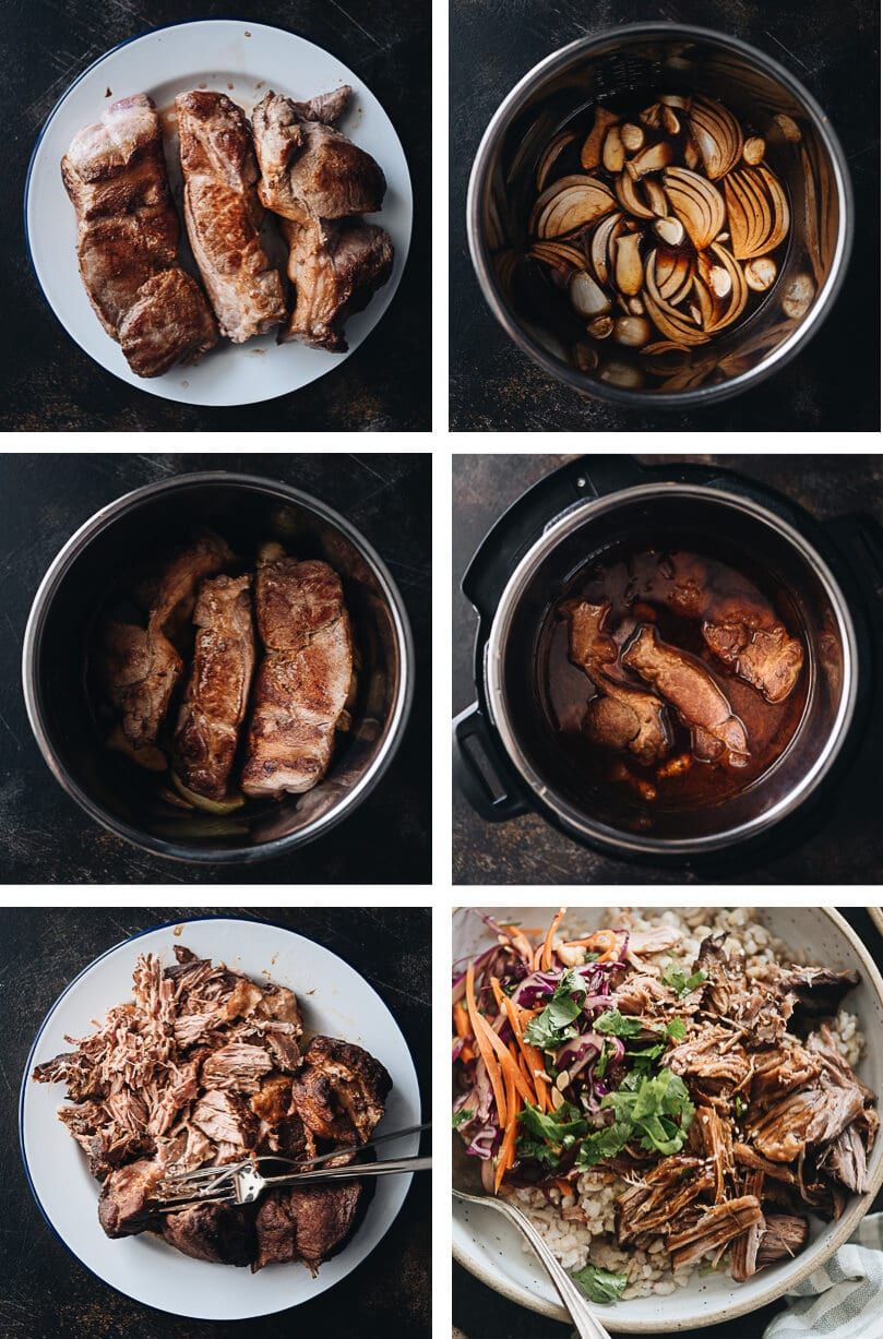 Asian Instant Pot pulled pork cooking step-by-step pictures