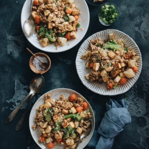 Tofu fried rice with broccoli, cauliflower, and carrots