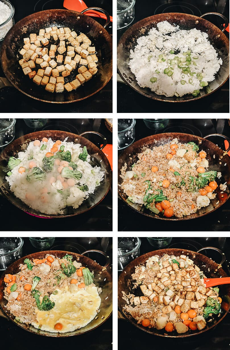 Tofu fried rice cooking process