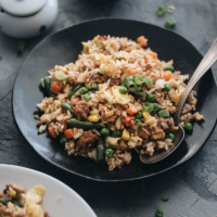 Homemade pork fried rice served with chili sauce