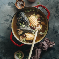 Chinese silkie chicken soup served in a dutch oven