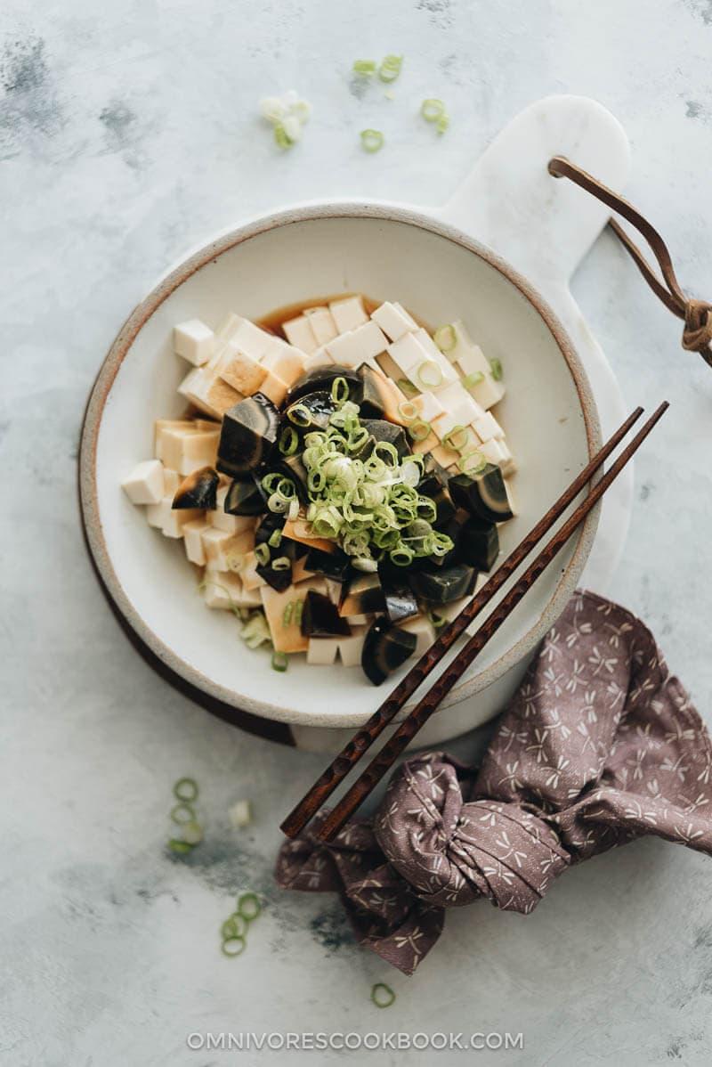 Century egg with tofu salad