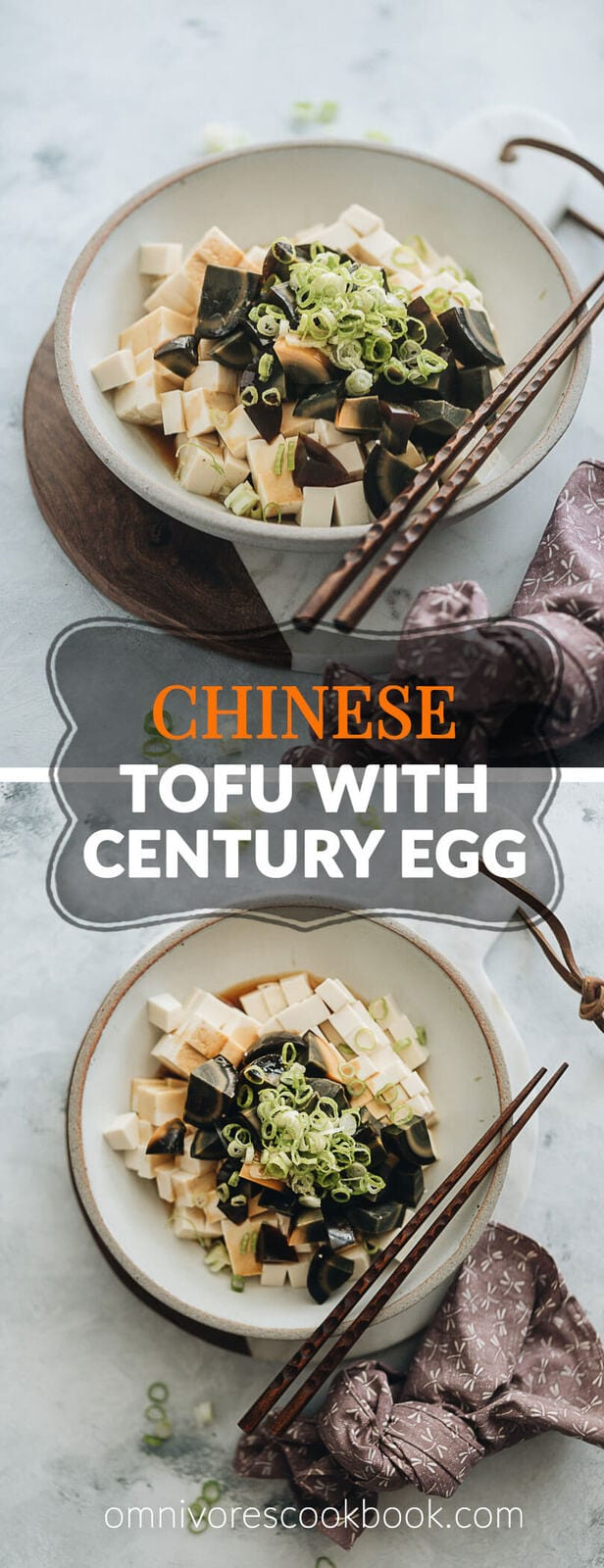 Tofu with Century Egg Salad - A childhood favorite and a popular diner food, the tofu with century egg salad requires just five ingredients and takes five minutes to make. Experiment with this new ingredient if you're interested in discovering what people eat in China. {Gluten-Free adaptable}