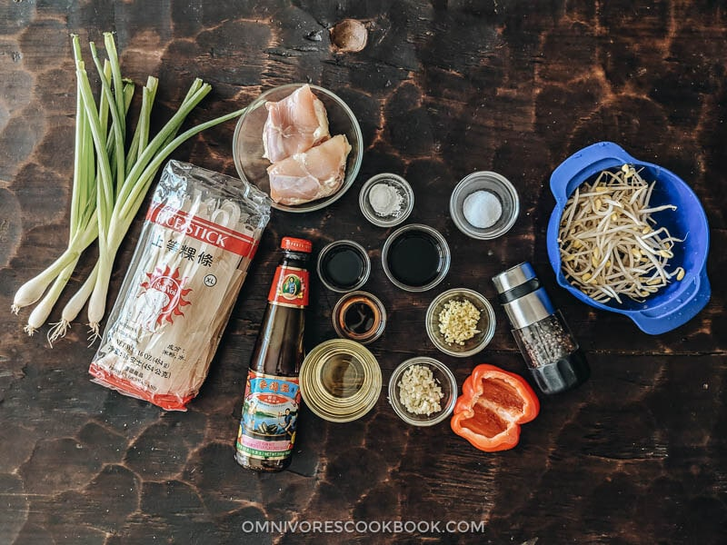 Ingredients for making chicken chow fun at home