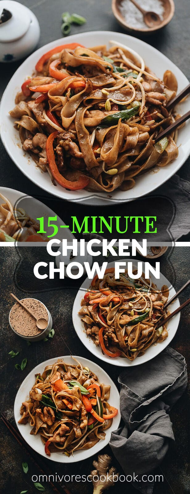 15-Minute Chicken Chow fun - This chicken fried noodle recipe is super fast to make and yields restaurant-style results. The dish is loaded with fat rice noodles, tender chicken, and crisp veggies. No wok required! #recipe #comfortfood #stirfry #glutenfree