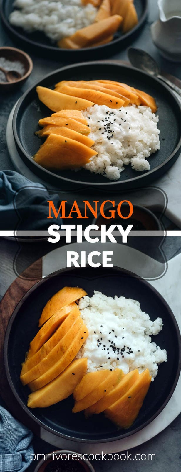 Mango Sticky Rice - The sweet gooey, nutty sticky rice is served with lucious coconut cream and sliced mango. It's so refreshing and comforting. This low-sugar version is not only easy to prepare, but also much healthier. #glutenfree #vegan #vegetarian